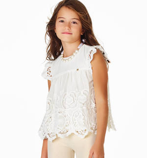 Elegant embroidered voile blouse for girls CREAM