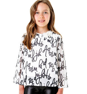 Elegant blouse with wording for girls aged 6-16 CREAM