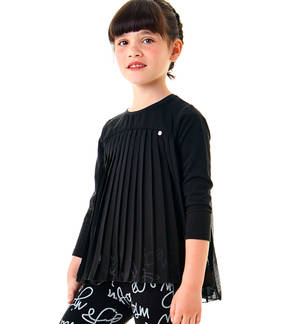 Blouse in pleated voile  BLACK