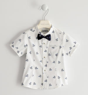 Elegant shirt with bow tie and detachable pochette WHITE
