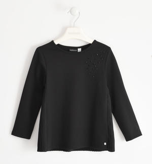 Elegant shirt in Milano stitch with rhinestones BLACK