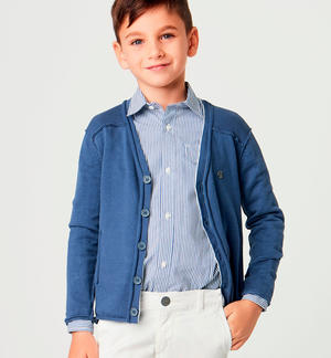 Boy's 100% cotton long-sleeved cardigan BLUE