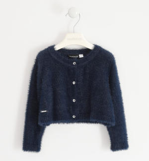 Elegant lurex cardigan for girl BLUE