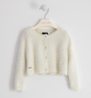 Elegant lurex cardigan for girl CREAM