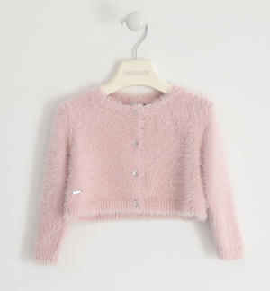 Elegant lurex cardigan for girl PINK