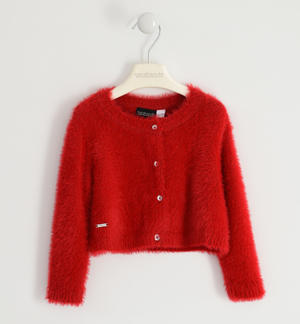 Elegant lurex cardigan for girl RED