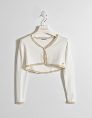 Stylish and comfortable girls' tricot viscose shrug CREAM