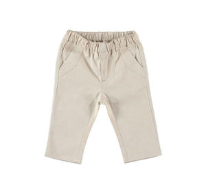 Elegant and comfortable unlined linen effect trousers for baby boy BEIGE