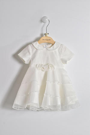 Elegant and refined baby girl baptism dress in organza