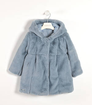Elegant faux fur coat with hood  LIGHT BLUE