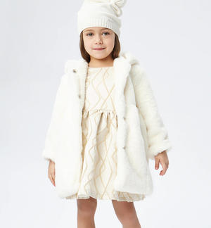 Elegant faux fur coat with hood  CREAM