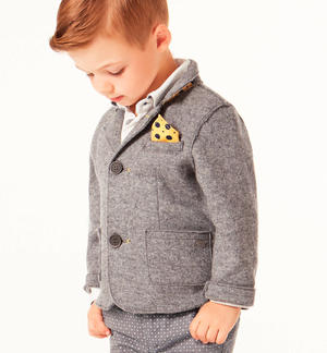 Elegant knitted jacket with removable handkerchief GREY