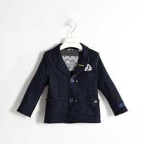 Elegant knitted jacket with removable handkerchief BLUE