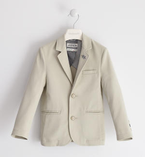 Elegant jacket in textured cotton fabric BEIGE