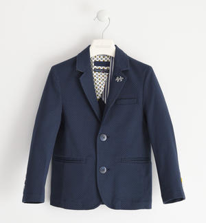 Elegant jacket in textured cotton fabric BLUE