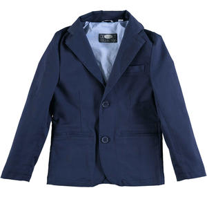 Elegant fitted jacket screwed with classic notched collar BLUE