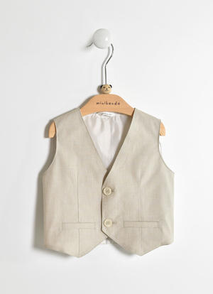 Elegant pinstripe vest for baby boy in cotton blend BEIGE