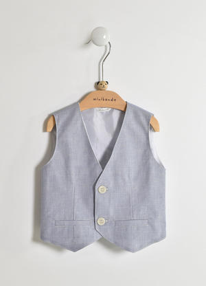 Elegant pinstripe vest for baby boy in cotton blend BLUE