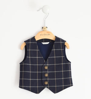 Elegant gilet for newborn boy in check fabric BLUE