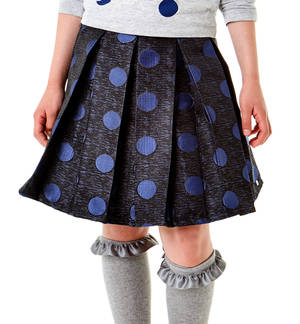 Box-pleat skirt with dot and lurex pattern BLUE