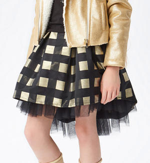 Elegant black and gold vichy pattern skirt  BLACK