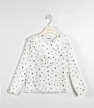 Elegant crêpe shirt with stars and ruffles  CREAM