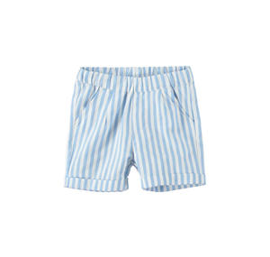 Elegant trousers baby boy with stripes and an all-elastic waistband LIGHT BLUE