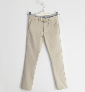 Elegant trousers in textured fabric with key ring BEIGE
