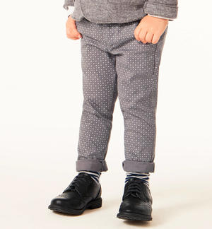 Elegant stretch twill trousers with polka dots  GREY