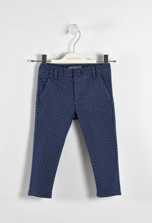 Elegant stretch twill trousers with polka dots  BLUE