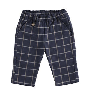Elegant checked twill-effect fabric trousers
