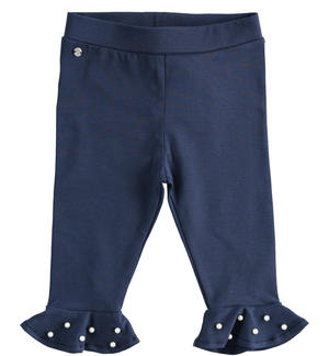Elegant Capri trousers with pearls BLUE