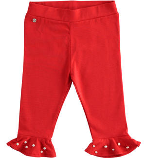 Elegant Capri trousers with pearls RED