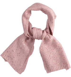 Elegant tricot scarf with micro sequins PINK