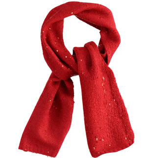 Elegant tricot scarf with micro sequins RED