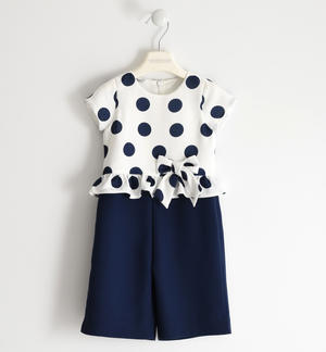 Elegant jumpsuit in crêpe fabric with polka dots BLUE