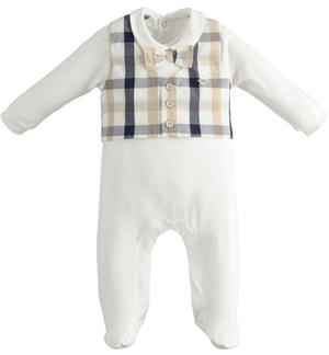 Elegant stretch cotton baby boy onesie with collar and feet