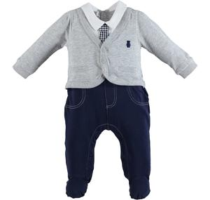 Elegant cotton romper with faux jacket and tie GREY