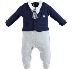 Elegant cotton romper with faux jacket and tie BLUE