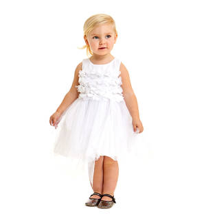 Elegant little dress with fitted tulle bodice WHITE