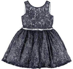 Elegant dress in refined floral lace with laminated print BLUE