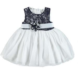 Elegant little pinafore dress with lace bodice for girls BLUE
