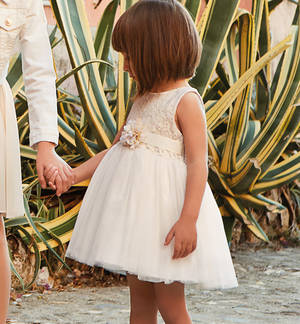 Elegant little pinafore dress with lace bodice for girls CREAM