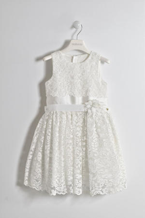 Elegant ceremony sleeveless dress for girl CREAM