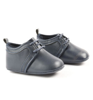 Elegant blue eco-leather shoes for newborn boy