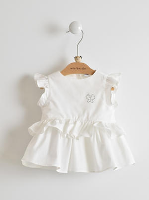 Summer and comfortable 100% cotton shirt baby girl with rhinestone butterfly WHITE