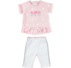 Summer and comfortable two-piece outfit in cotton PINK