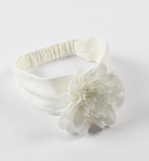 Newborn cream headband with flower with organza and tulle petals CREAM