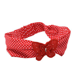 Polka dot print stretch cotton headband for baby girl RED