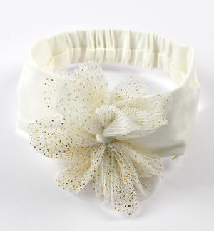 Newborn girl headband with gold sprayed flower CREAM